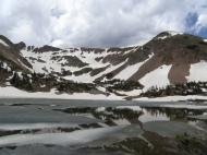 A half frozen Rogers Pass Lake