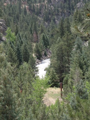 On the descent, a look down at South Boulder Creek