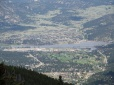 Closeup look at Estes Park and Lake Estes