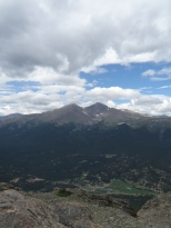 One last look at Longs & Meeker and the valley below from the Twin Sisters summit