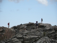 Closeup of hikers on the Eastern summit of Twin Sisters