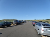 Lots of cars as we walk to the parking lot and trailhead.