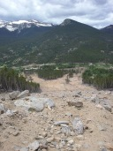 Crossing in the middle of the landslide, looking down at the damage.